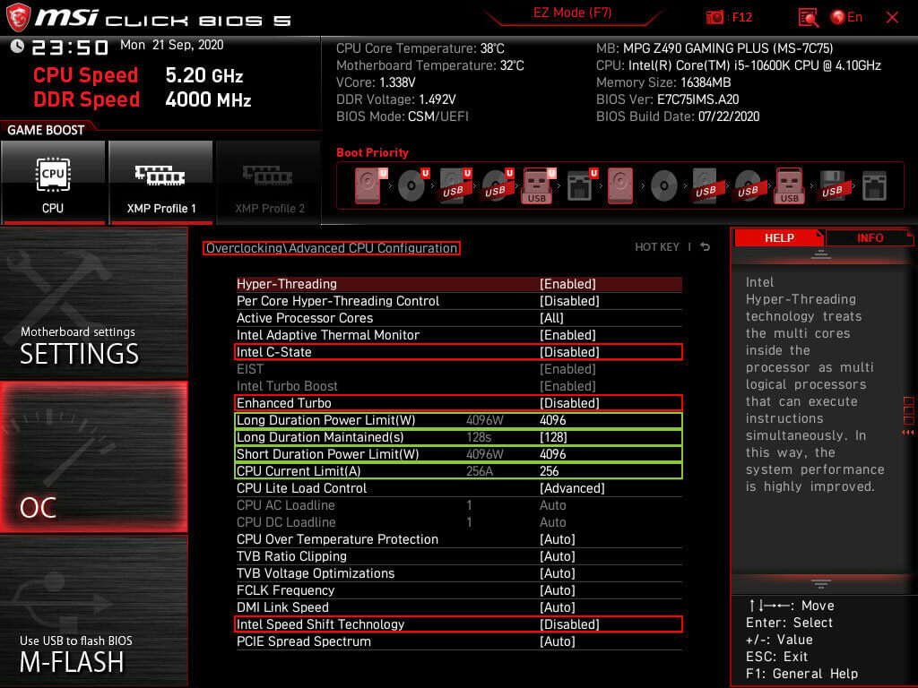 MSI click BIOS 5 advanced CPU configuration settings