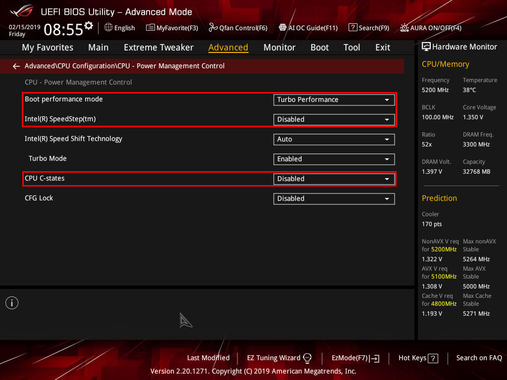 ASUS Maximus Hero XI CPU Power Management Control