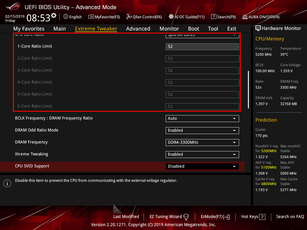 ASUS Maximus Hero XI Extreme Tweaker CPU Core Ratio