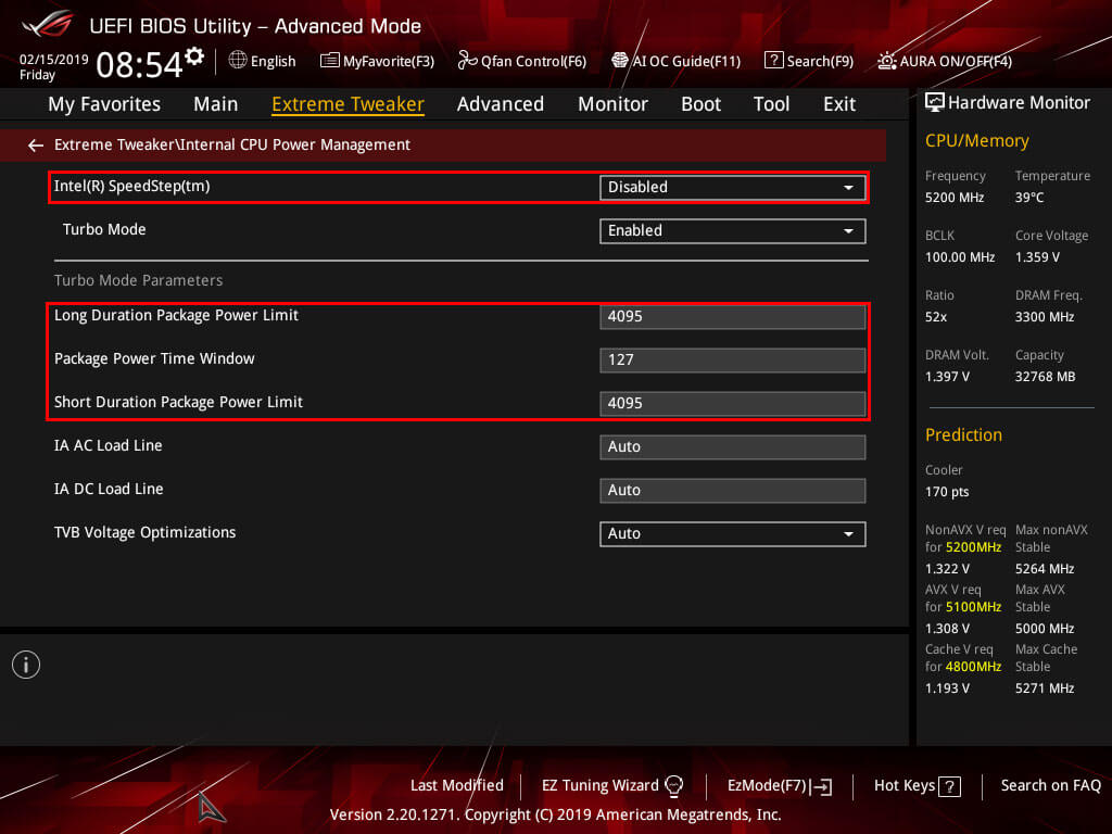 ASUS Maximus Hero XI Internal CPU Power Management