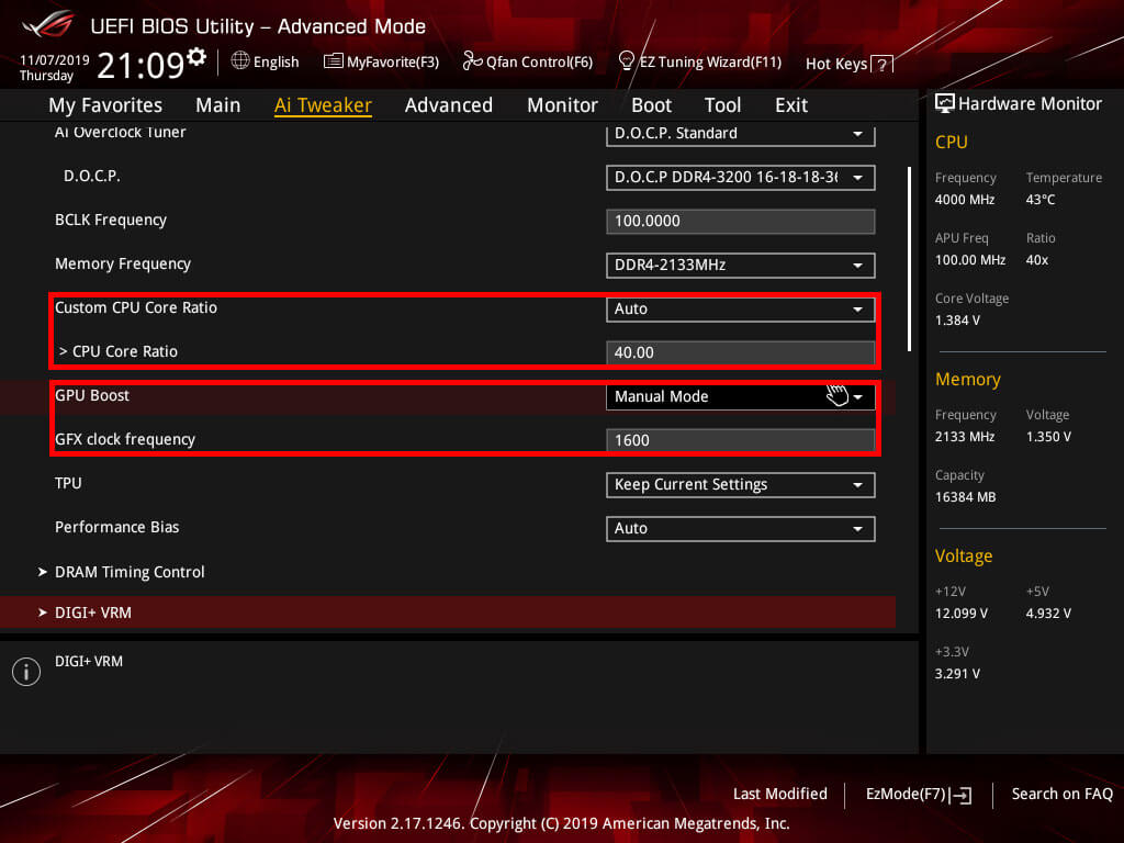 ASUS Strix X370 Frequency settings