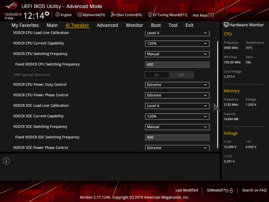 ASUS Strix X370 DIGI+ VRM settings