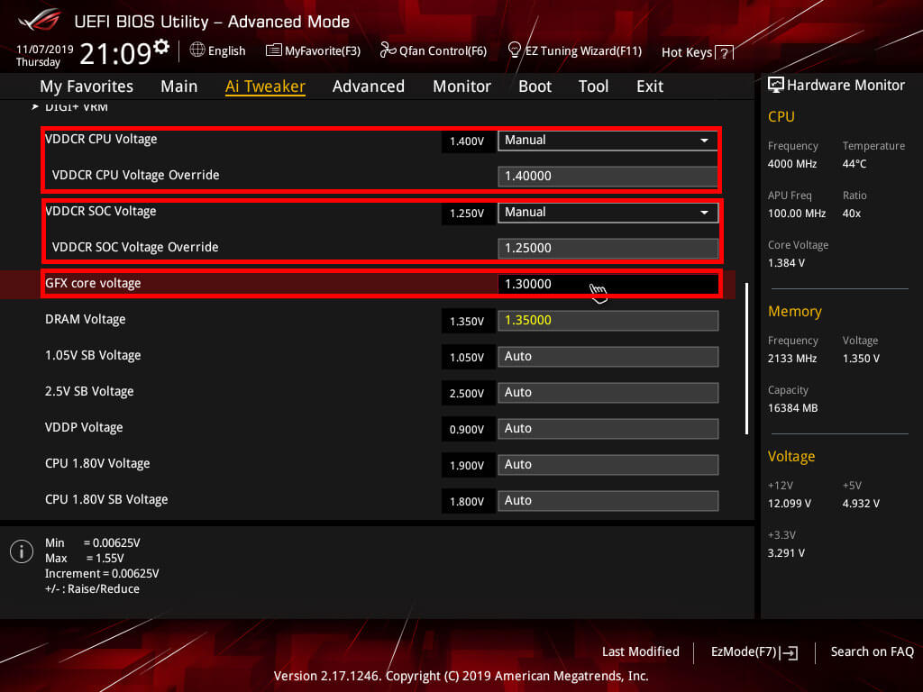 ASUS Strix X370 Voltage settings
